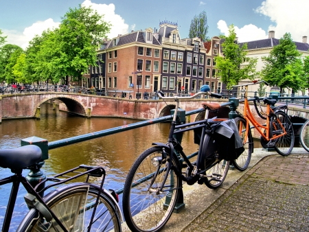 Amsterdam urban scene with bicycles and bridges