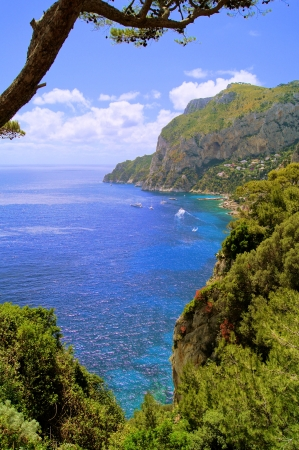 View of the coast of the island of Capri, Italy photo
