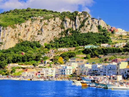 View of Marina Grande, the harbor of Capri, Italy photo