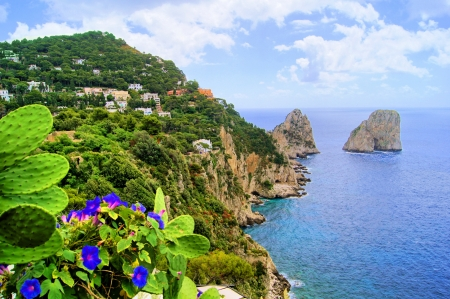 Famous Faraglioni rocks off the island of Capri, Italy  photo