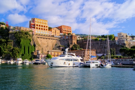 sorrento: View of the cliffs of Sorrento, Italy from the harbor