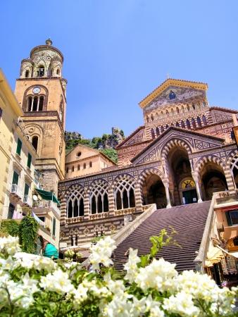 amalfi: Ornate Amalfi Cathedral with flowers, Italy