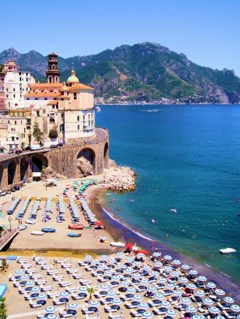positano: Amalfi Coast view of Atrani and colorful beach, Italy