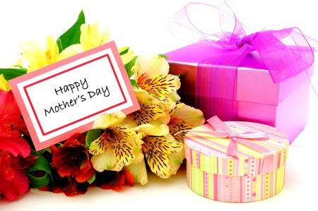 day lily: Happy Mothers Day Card with colorful flowers and gift boxes