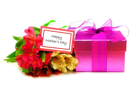 Happy Mothers Day Card with colorful flowers and gift box over white