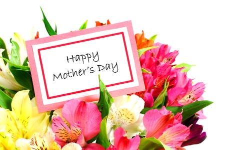 Happy Mothers Day Card among colorful flowers over white