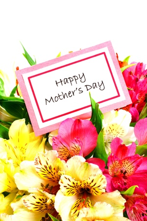 Happy Mothers Day Card among colorful flowers over white photo