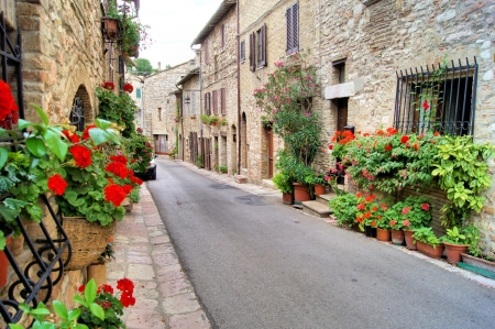 Flower lined medieval street in Assisi, Italy