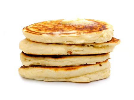 griddle: Stack of fresh breakfast pancakes over white Stock Photo