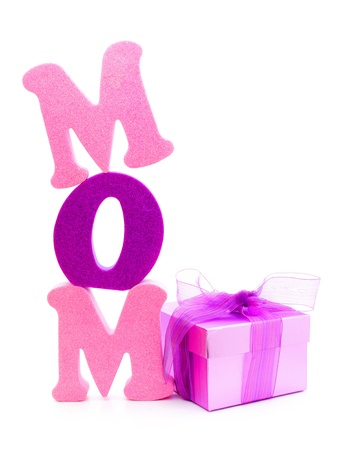 Mothers Day gift box with foam letters spelling MOM  photo
