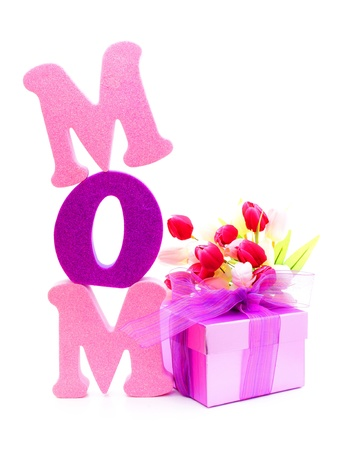 Mothers Day gift box and flowers with foam letters spelling MOM photo