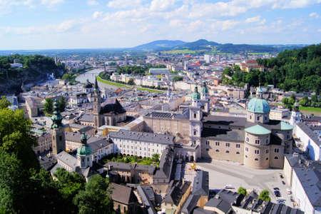 salzburg: Aerial view over the old town of Salzburg, Austria Stock Photo