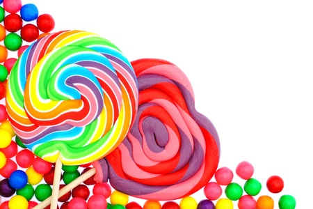 gumballs: Colorful candy corner border with lollipops and gumballs