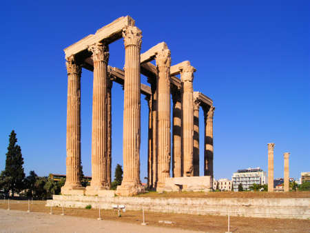 olympian: Ruins of The Temple of Olympian Zeus, Athens, Greece Stock Photo
