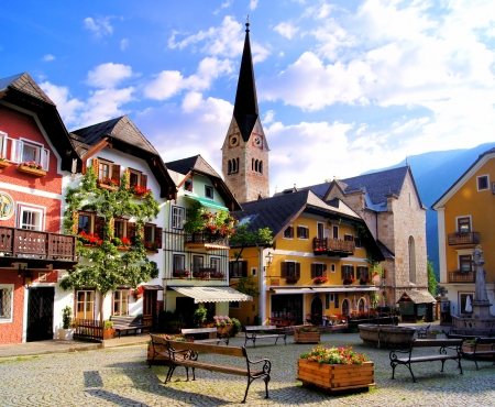 austrian village: Quaint square in the Austrian village of Hallstatt