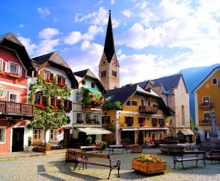 Schilderachtige plein in het Oostenrijkse dorp Hallstatt
