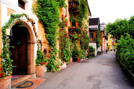 austrian village: Flower lined street in the traditional Austrian village of Hallstatt