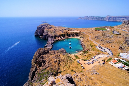 Overlooking the blue Aegean Sea from the Acropolis, Lindos, Greece photo