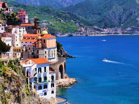 Beautiful village of Atrani along the Amalfi Coast, Italy Stock Photo