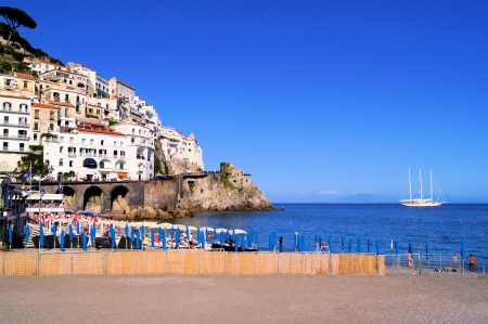 sorrento: View from the beaches of the town of Amalfi, Italy