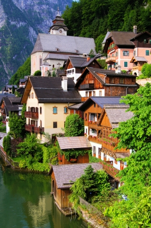 austrian village: Traditional wooden houses of the Austrian village of Hallstatt Stock Photo