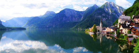austrian village: Hallstatt, Austria panaramic view with Alps and lake