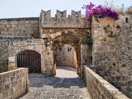 open gate: Medieval defensive gate in the fortifications of Rhodes Old Town, Greece