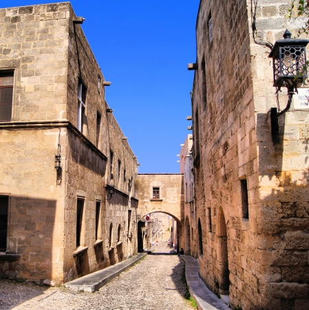 mediterranean houses: Medieval Street of the Knights, Old Town of Rhodes, Greece Editorial