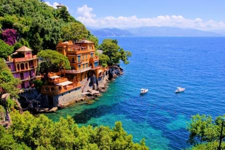 Luxury homes along the Italian coast at Portofino  写真素材