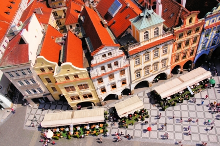 old town square: Aerial view of Old Town Square, Prague, Czech Republic Stock Photo