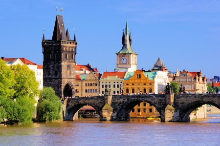 Famous Charles Bridge and tower, Prague, Czech Republic photo