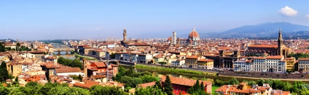 duomo: Panoramic view over Florence, Italy with Duomo and Palazzo Vecchio