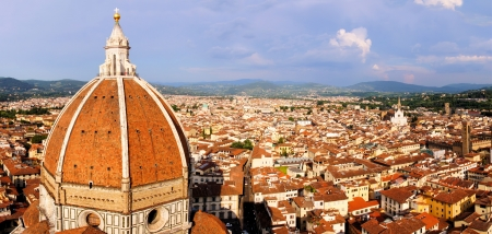 Panoramic view over Florence, Italy with Duomo dome photo