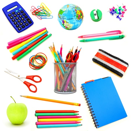 Assortment of school supplies individually isolated on white