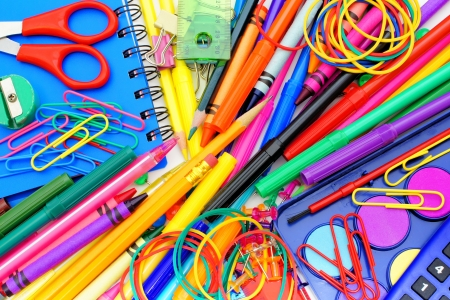 school band: Full background of a colorful assortment of school supplies  Stock Photo