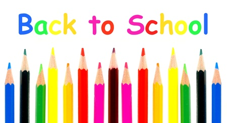 Colorful pencil crayon border with Back to School text over\ white