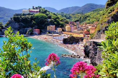 Cinque Terre village of Monterosso with flowers, Italy