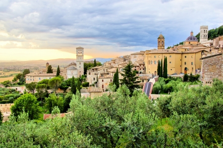 assisi: View over the town of Assisi, Italy at sunset
