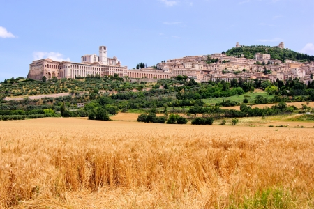 umbria: View of the town of Assisi with the Basilica of St Francis