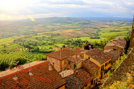 View over the fields of Tucany from Montepulciano near sunset  Stock Photo - 21432987