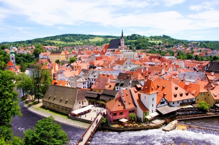Aerial view over the old Town of Cesky Krumlov, Czech Republic photo