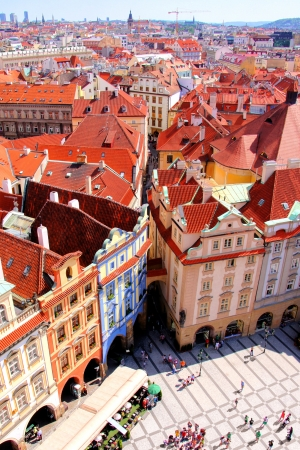 Aerial view over Old Town Square, Prague, Czech Republic photo