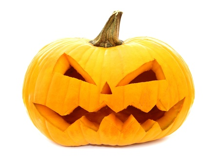 Single Halloween Jack o Lantern isolated on white photo