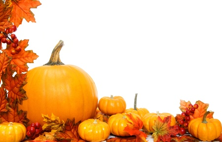 Autumn corner border or frame with leaves and pumpkins Stock Photo