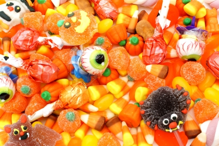 Full background of an assortment of Halloween candy photo