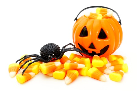 Jack o Lantern candy holder with candy corn and toy spider photo