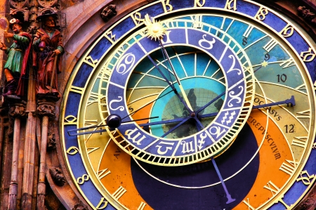 Close up of the Prague astronomical clock, Czech Republic