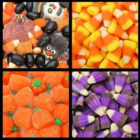 Four unique Halloween candy backgrounds photo