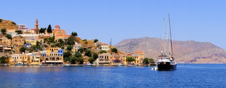 rhodes: Panoramic view of the coast the island of Symi, Greece Stock Photo