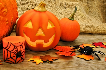Halloween and autumn decor with jack o lantern photo